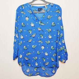 Kaari Blue Bird Print Blouse